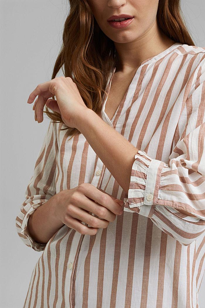 Lightweight striped blouse, 100% organic cotton, CARAMEL, detail image number 2