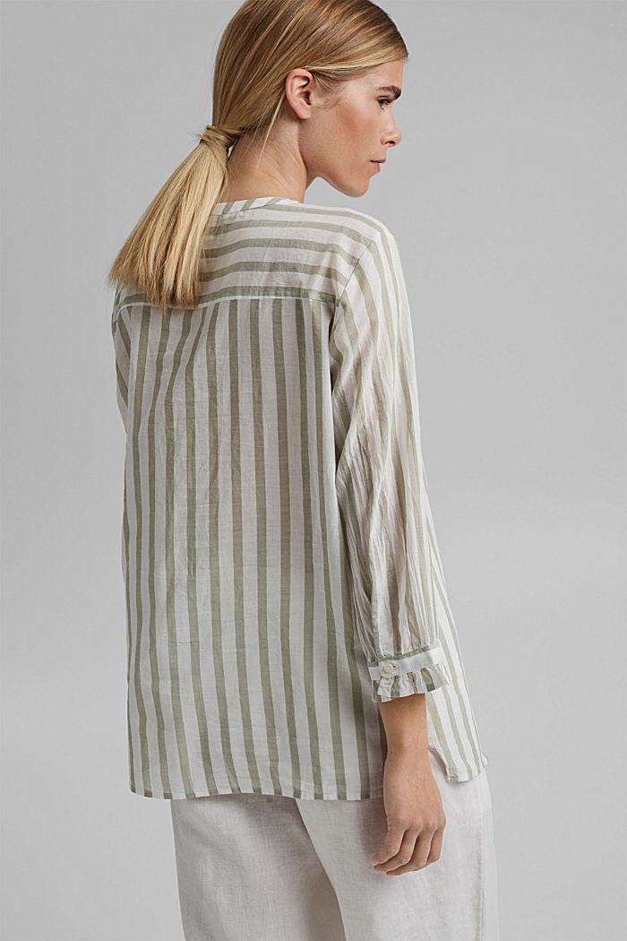Lightweight striped blouse, 100% organic cotton, LIGHT KHAKI, detail image number 3