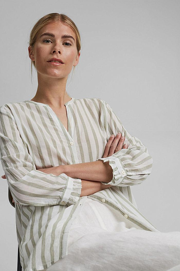 Lightweight striped blouse, 100% organic cotton, LIGHT KHAKI, detail image number 5