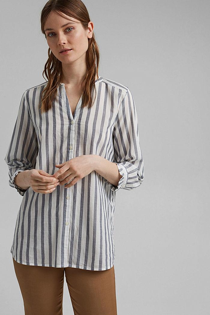 Blusa ligera con diseño a rayas, 100 % algodón ecológico, NAVY, detail image number 0