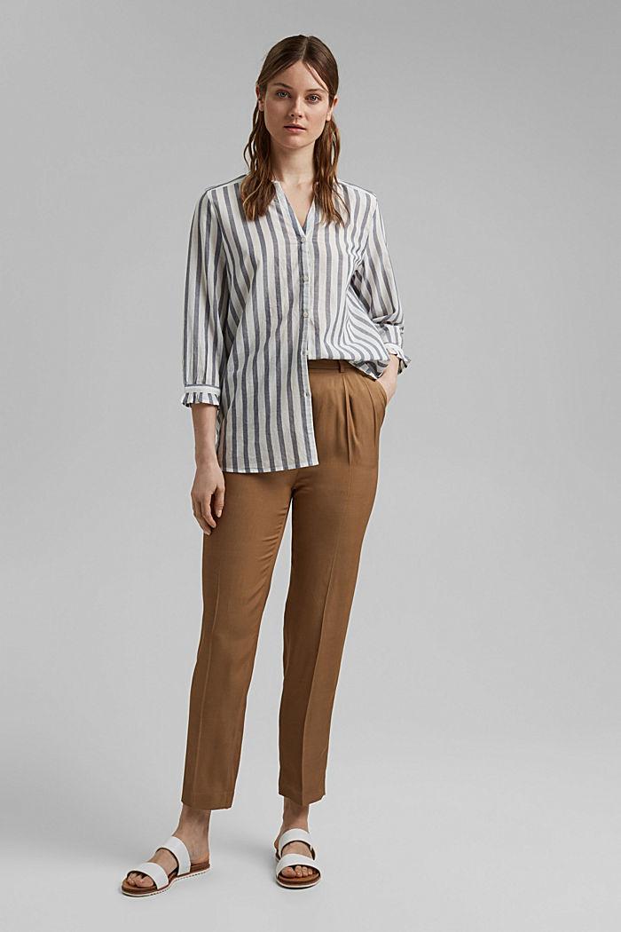 Blusa ligera con diseño a rayas, 100 % algodón ecológico, NAVY, detail image number 1