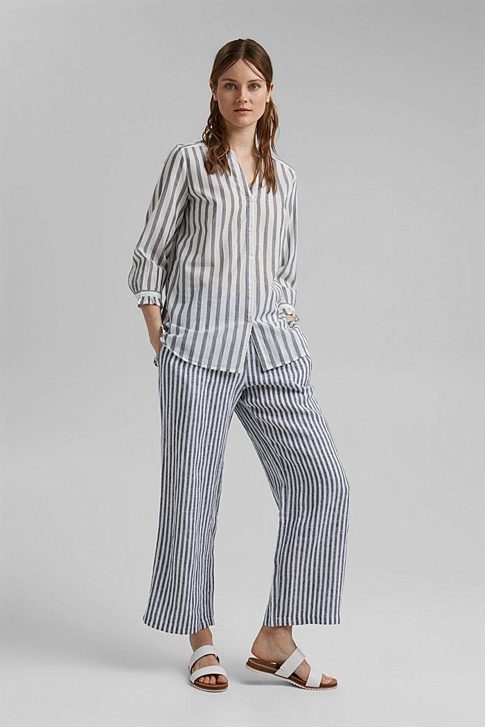 Blusa ligera con diseño a rayas, 100 % algodón ecológico, NAVY, detail image number 7