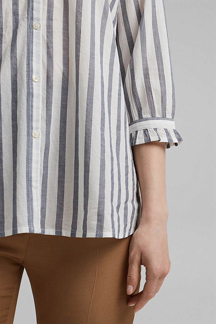 Blusa ligera con diseño a rayas, 100 % algodón ecológico, NAVY, detail image number 5