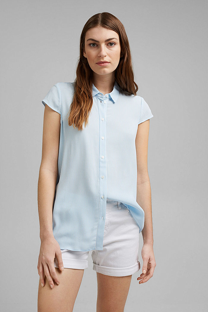 Striped crêpe blouse with LENZING™ ECOVERO™, LIGHT BLUE, detail image number 0