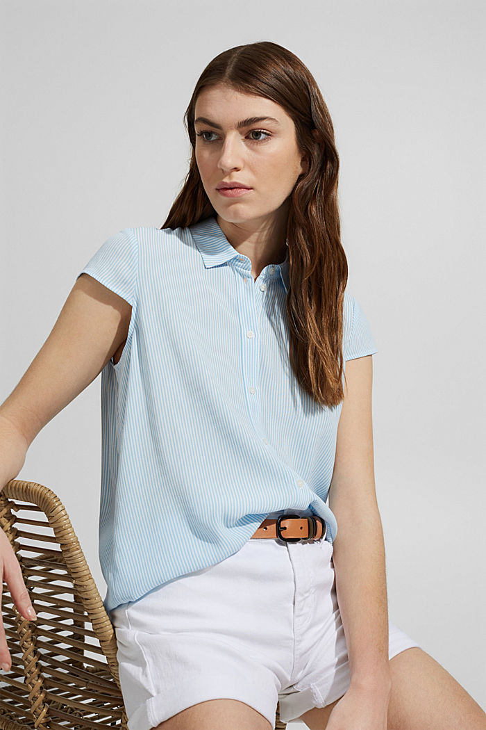 Gestreepte crêpe blouse met LENZING™ ECOVERO™
