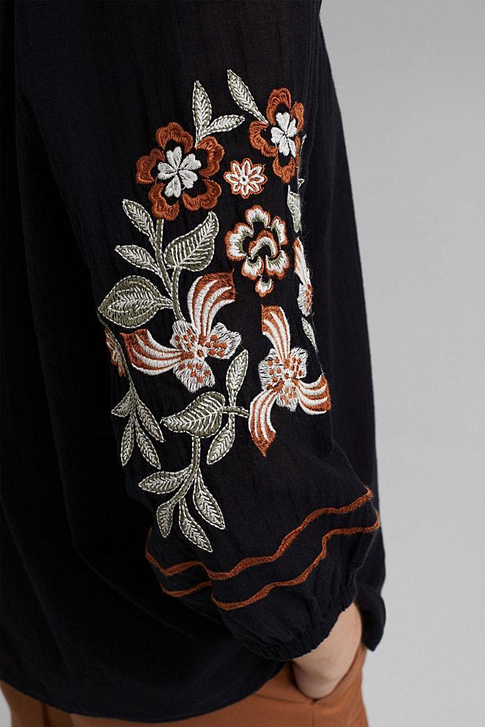 Bluse mit Stickerei, 100% Organic Cotton, BLACK, detail image number 5