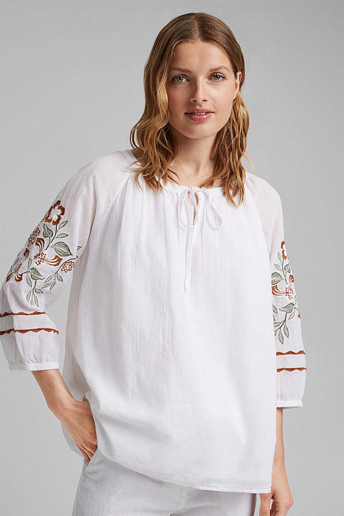 Bluse mit Stickerei, 100% Organic Cotton