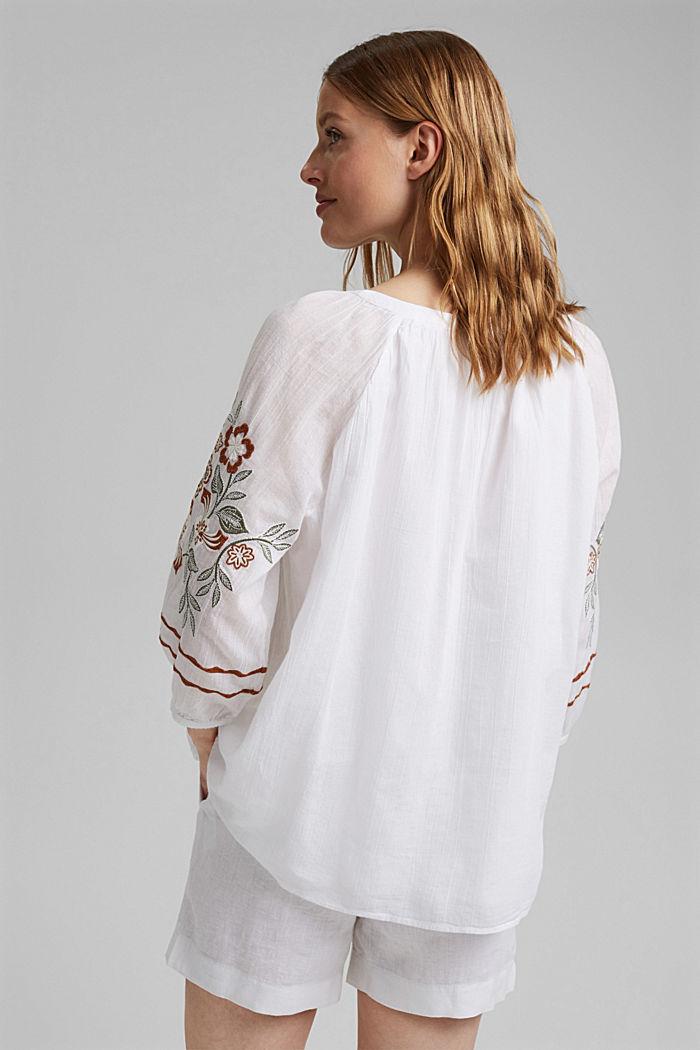 Blusa con bordado, 100 % algodón ecológico, WHITE, detail image number 3