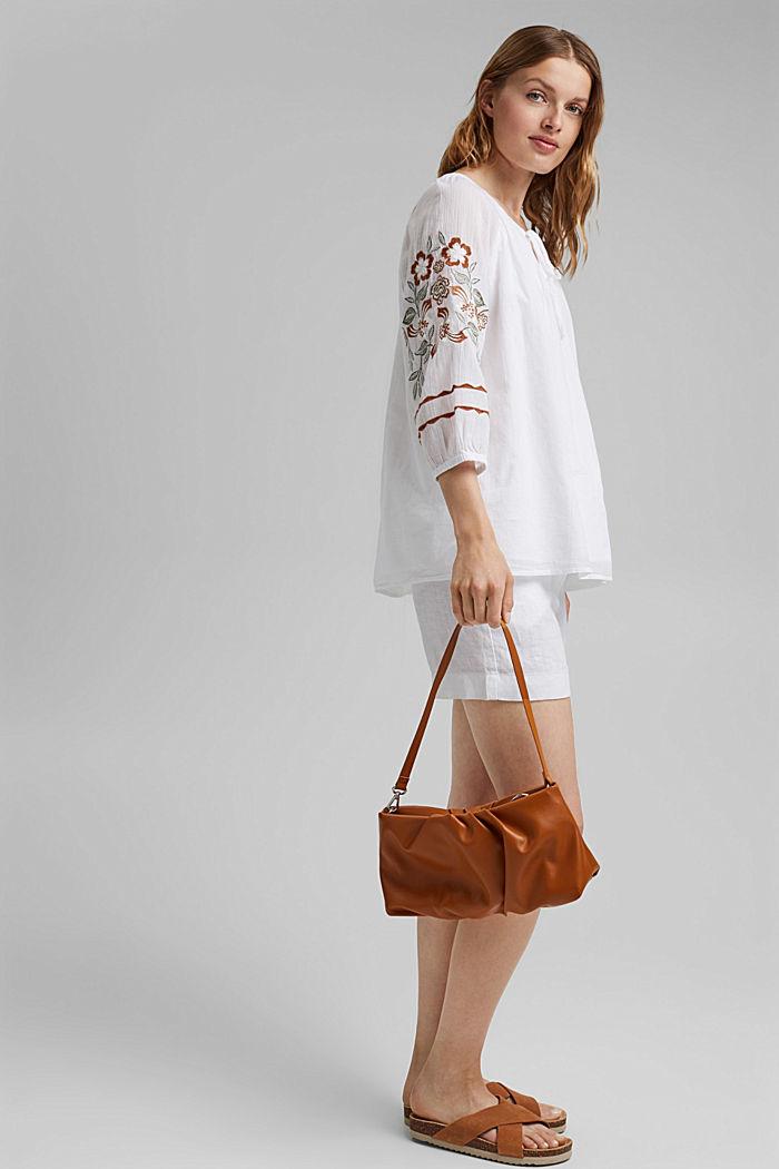 Blusa con bordado, 100 % algodón ecológico, WHITE, detail image number 1