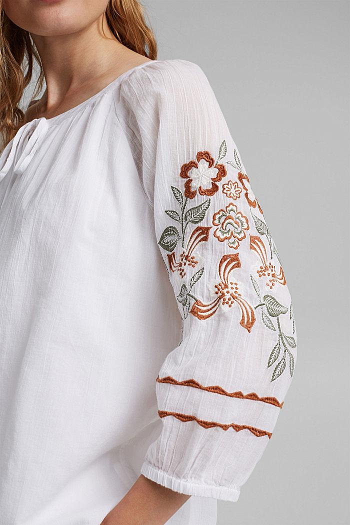 Blusa con bordado, 100 % algodón ecológico, WHITE, detail image number 2