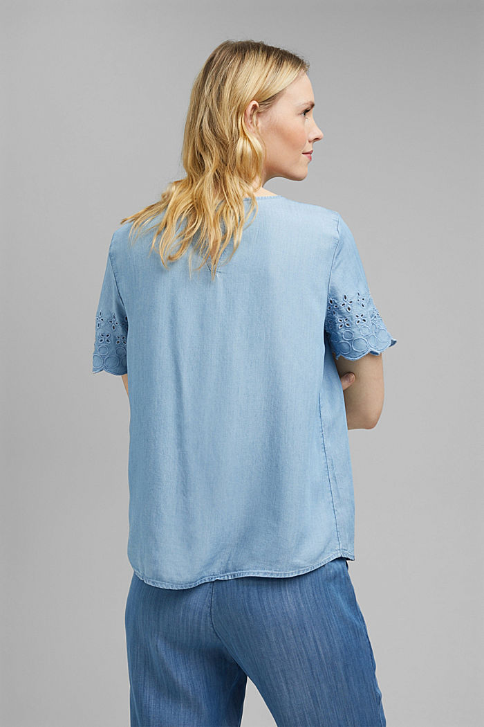 Made of TENCEL™: Denim blouse with embroidery, BLUE LIGHT WASHED, detail image number 3