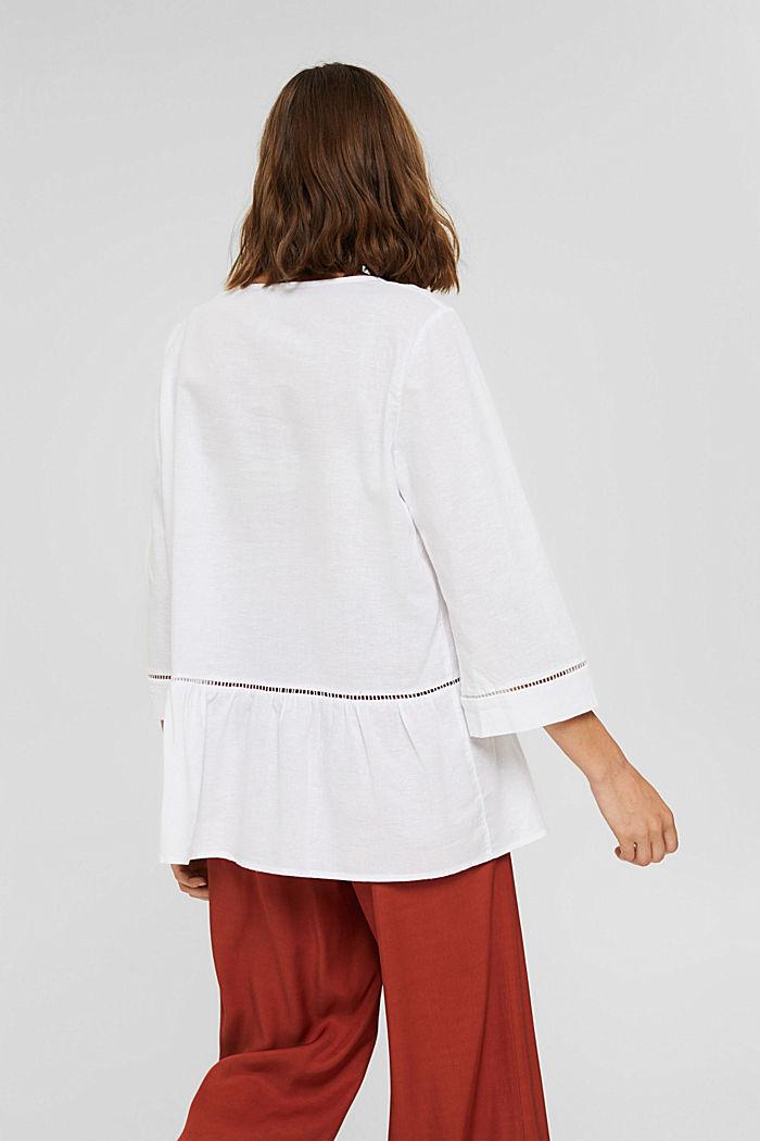 Mit Hanf: Bluse mit Schößchen, WHITE, detail image number 3