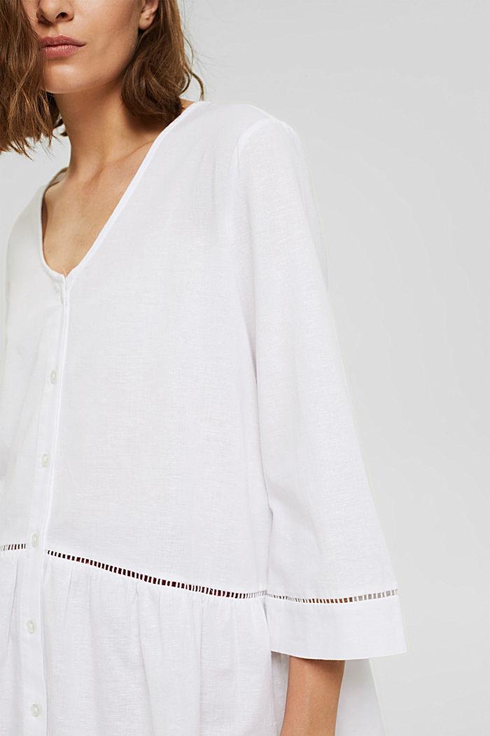 Mit Hanf: Bluse mit Schößchen, WHITE, detail image number 2