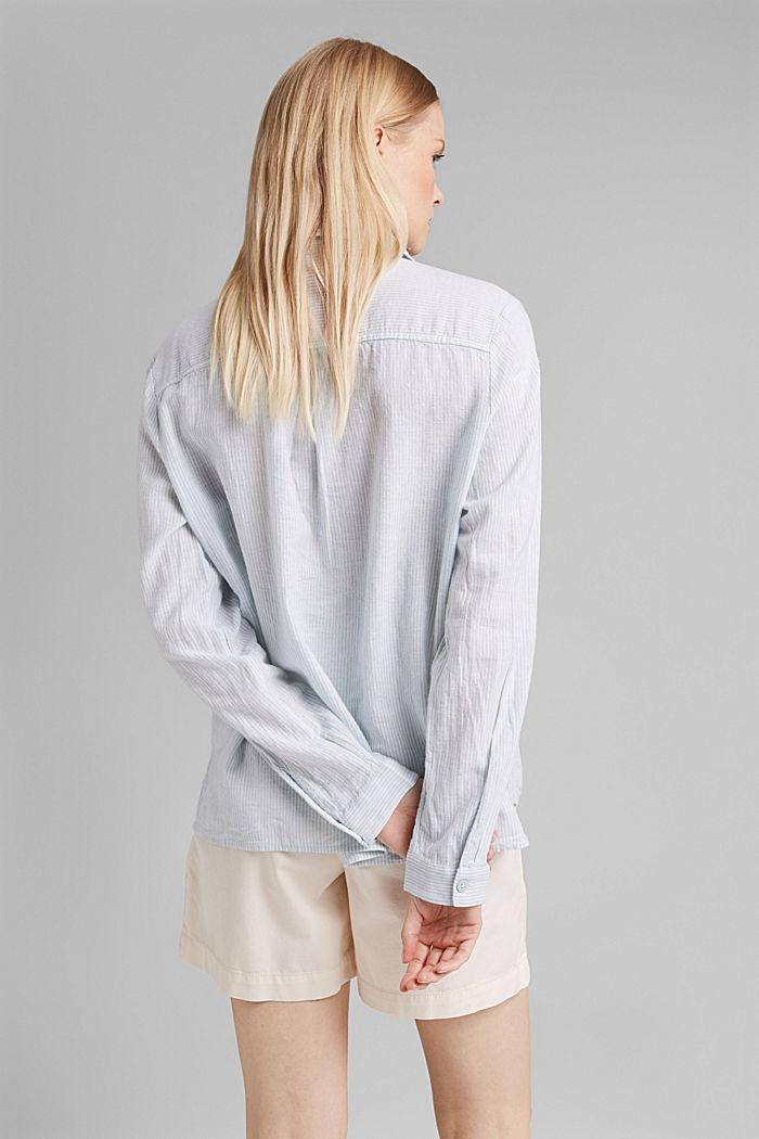 Linen blend: vertically striped blouse, LIGHT AQUA GREEN, detail image number 3