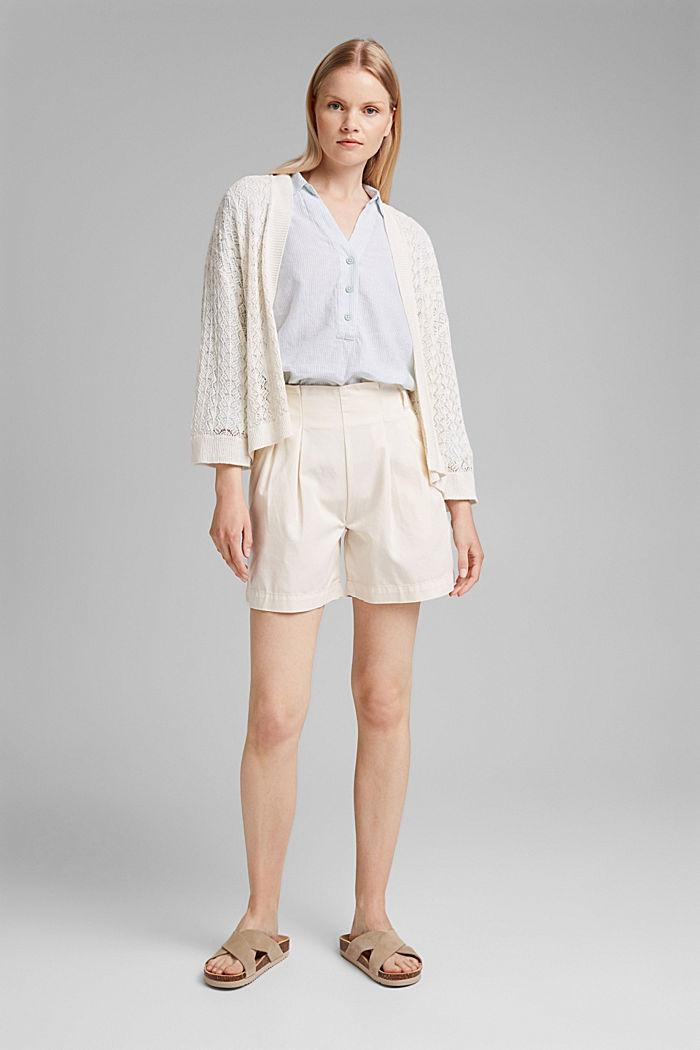 Linen blend: vertically striped blouse, LIGHT AQUA GREEN, detail image number 1