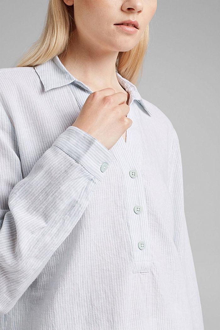 Linen blend: vertically striped blouse, LIGHT AQUA GREEN, detail image number 2