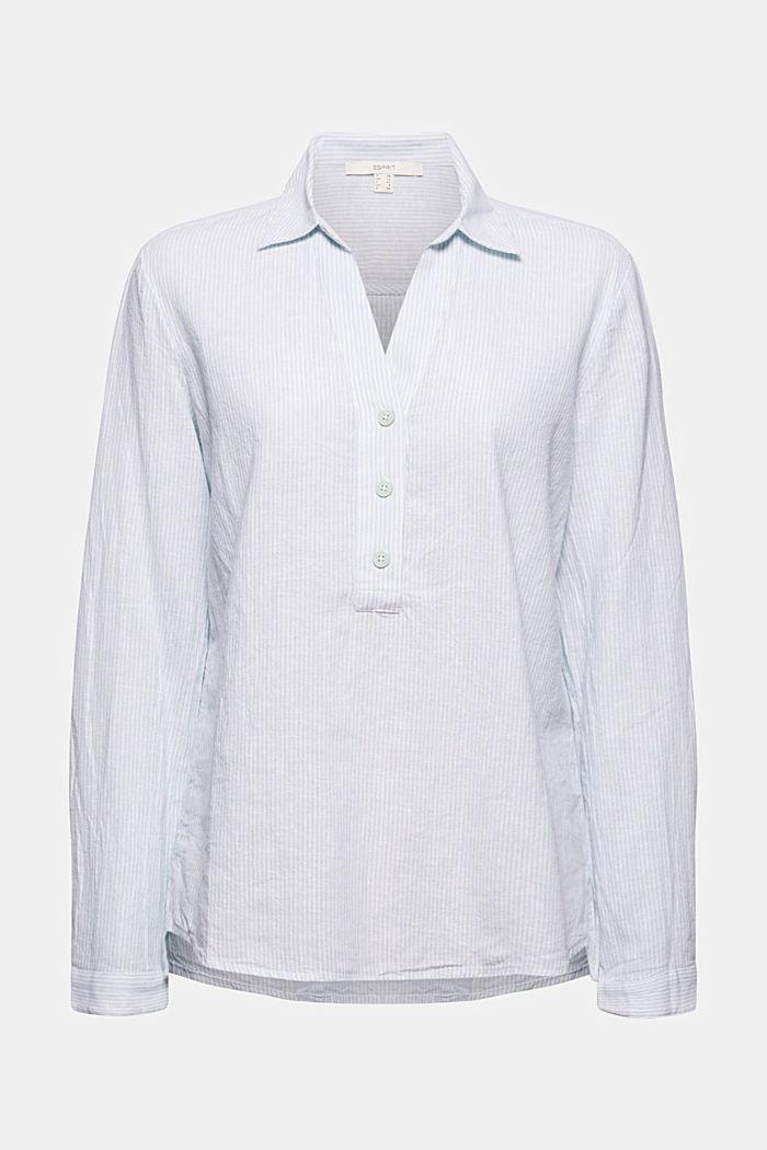 En mezcla de lino: blusa camisera con rayas verticales