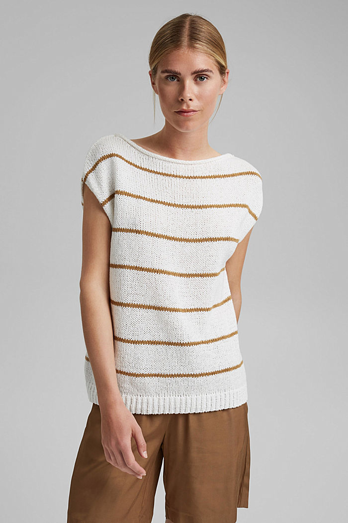Striped sleeveless jumper in ribbon yarn, OFF WHITE, detail image number 0