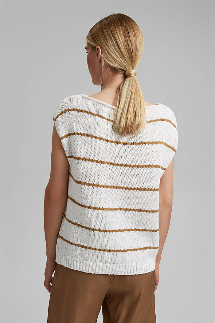 Striped sleeveless jumper in ribbon yarn, OFF WHITE, detail image number 3