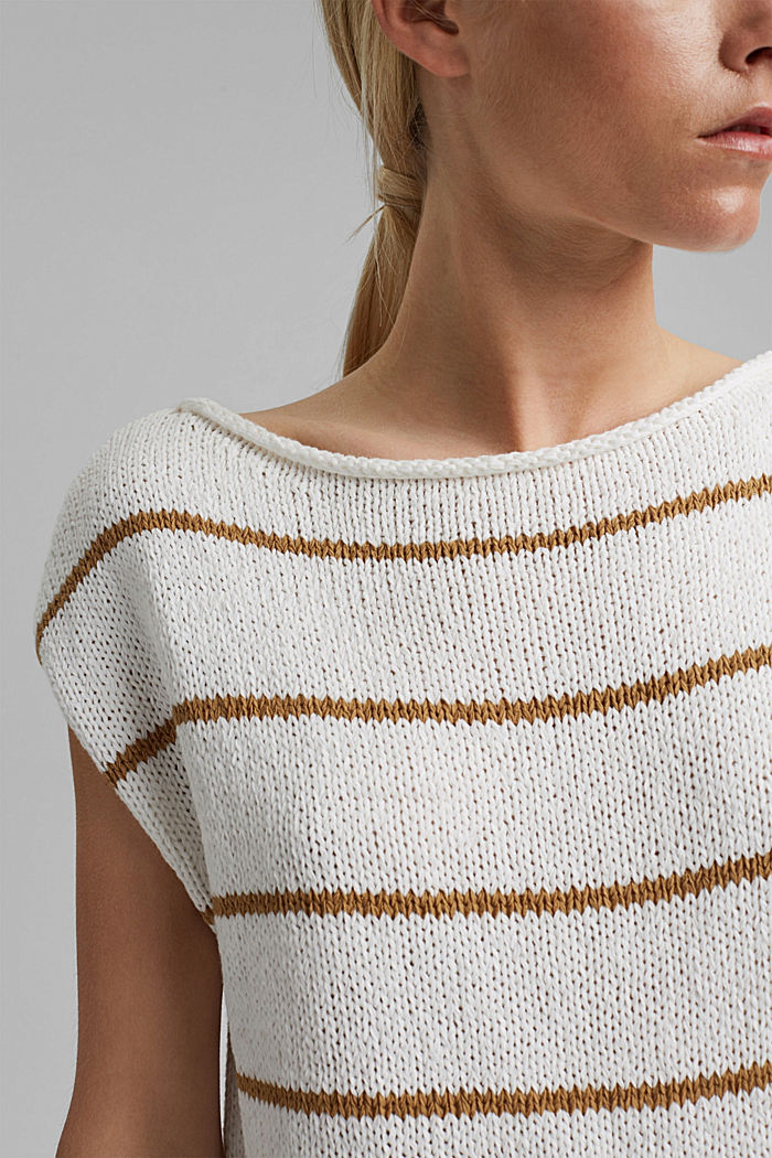Striped sleeveless jumper in ribbon yarn, OFF WHITE, detail image number 2