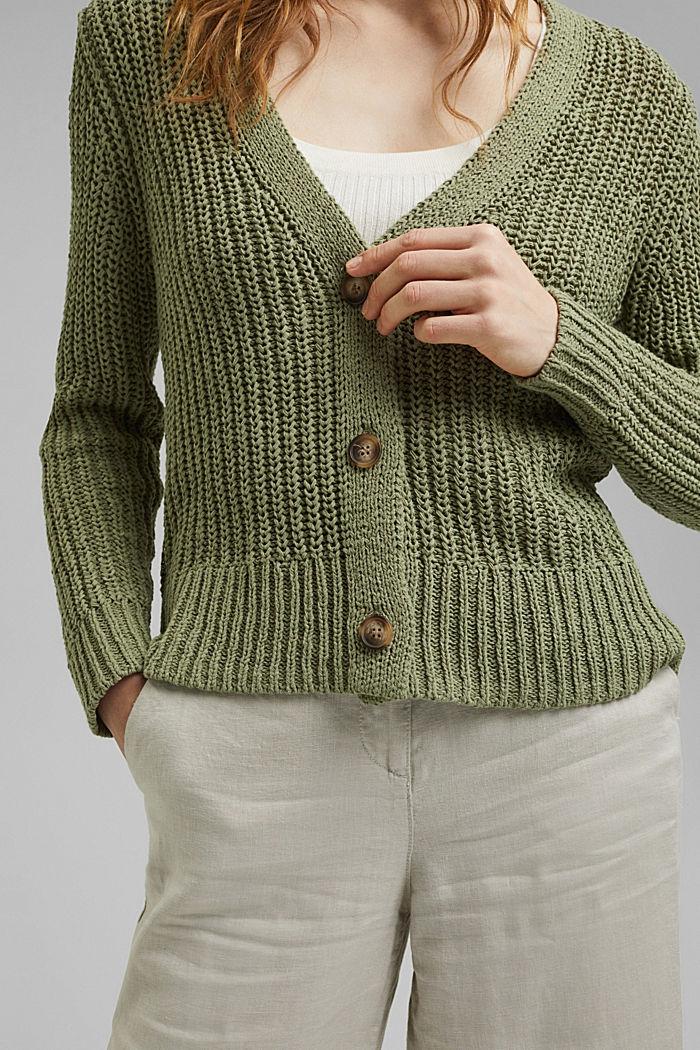 Ribbon yarn cardigan, LIGHT KHAKI, detail image number 2