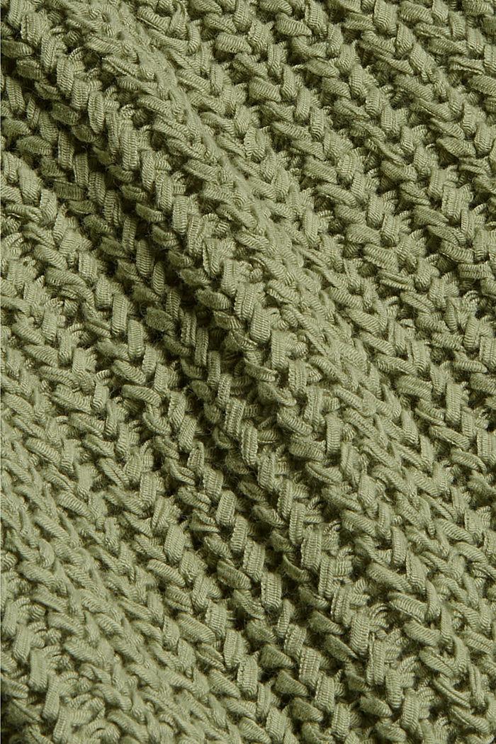 Ribbon yarn cardigan, LIGHT KHAKI, detail image number 4