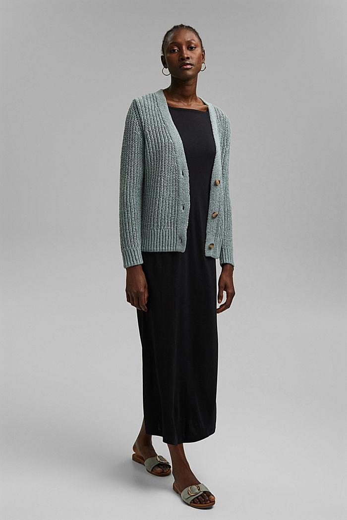 Ribbon yarn cardigan, TURQUOISE, detail image number 1