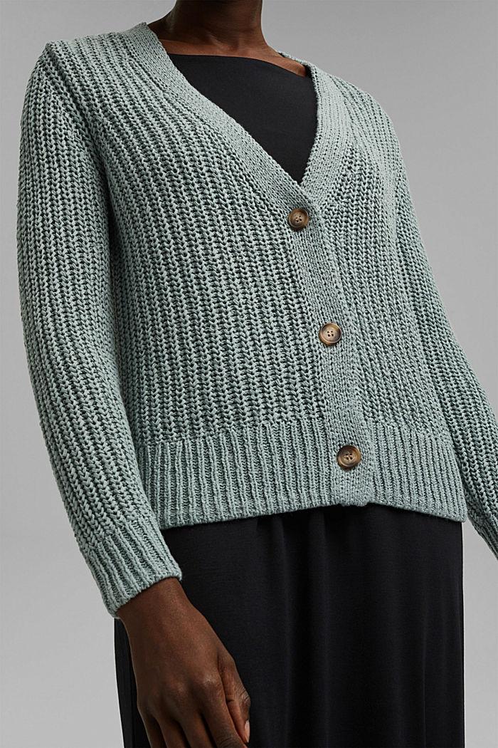 Ribbon yarn cardigan, TURQUOISE, detail image number 2