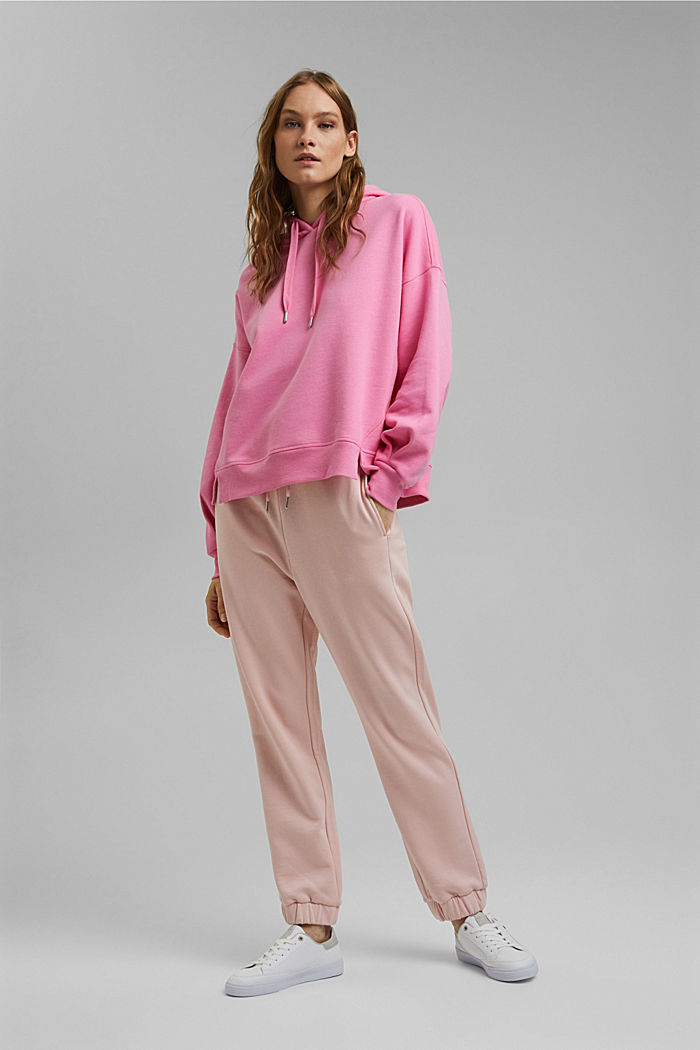 Boxy hoodie made of 100% cotton, PINK, detail image number 1