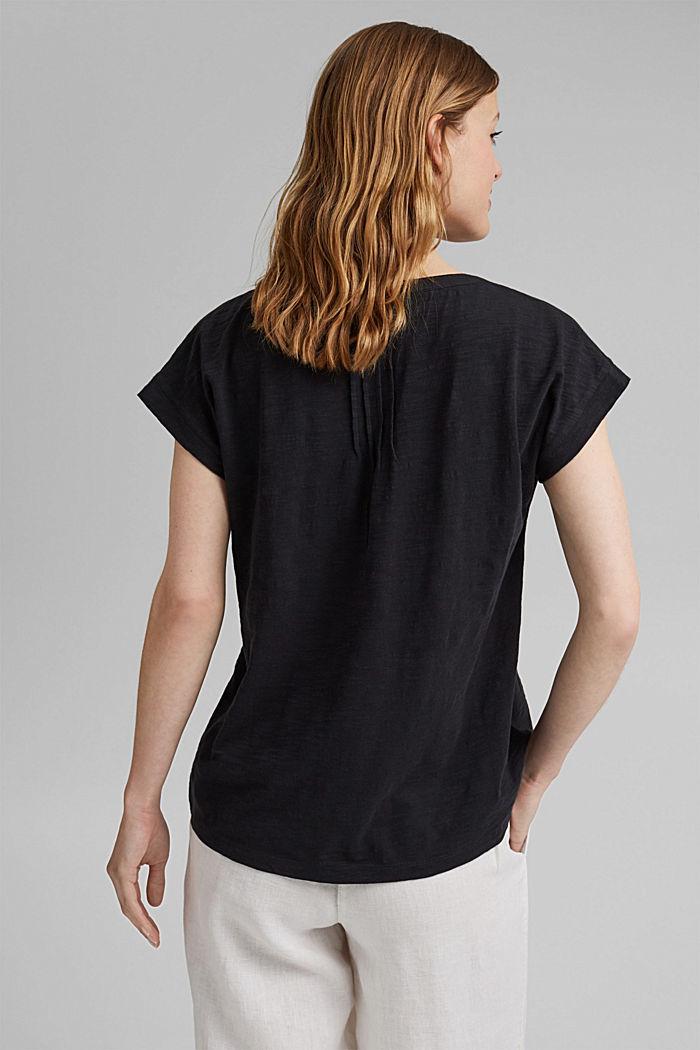 T-shirt met biesjes, 100% biologisch katoen, BLACK, detail image number 3