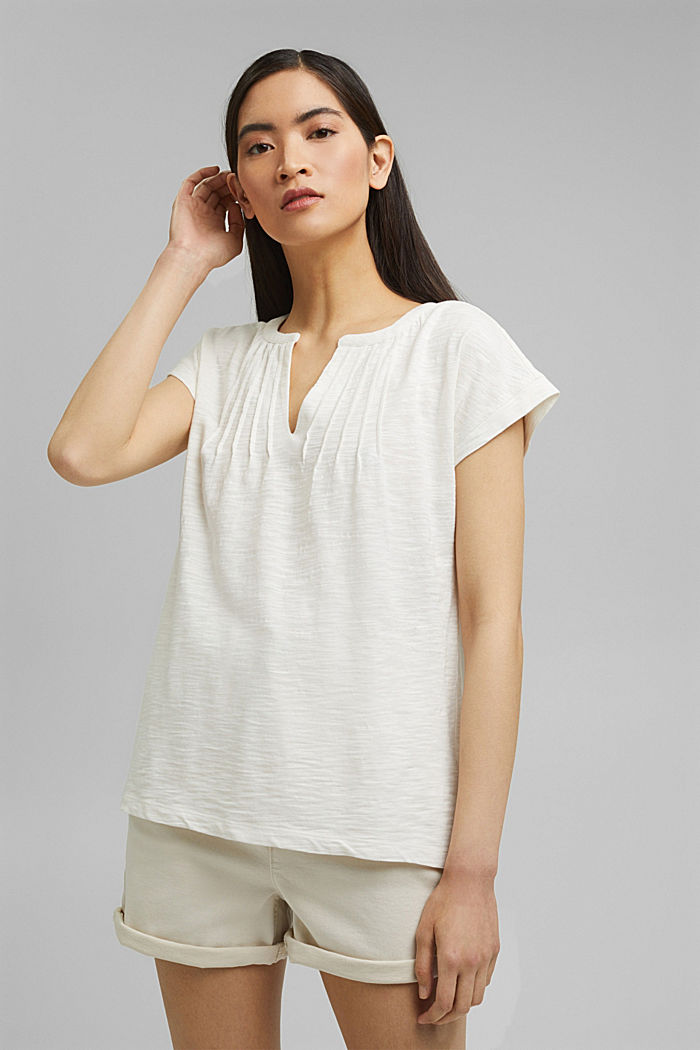 T-shirt with pintucks, 100% organic cotton, OFF WHITE, detail image number 0