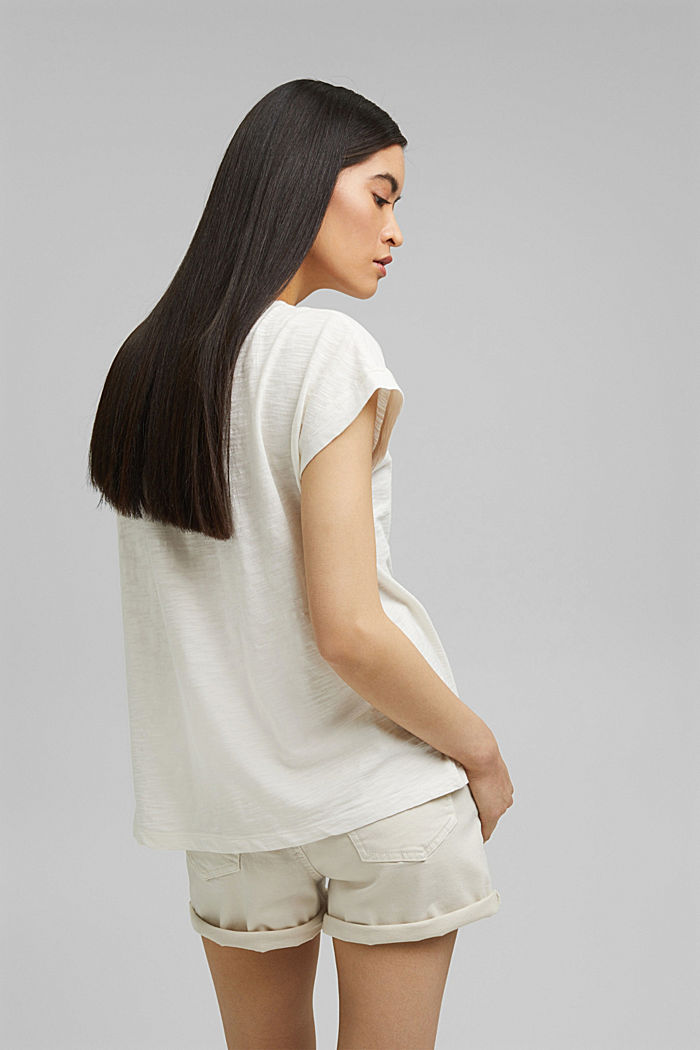 T-shirt with pintucks, 100% organic cotton, OFF WHITE, detail image number 3