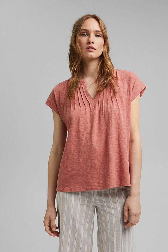 T-shirt with pintucks, 100% organic cotton, BLUSH, detail image number 0