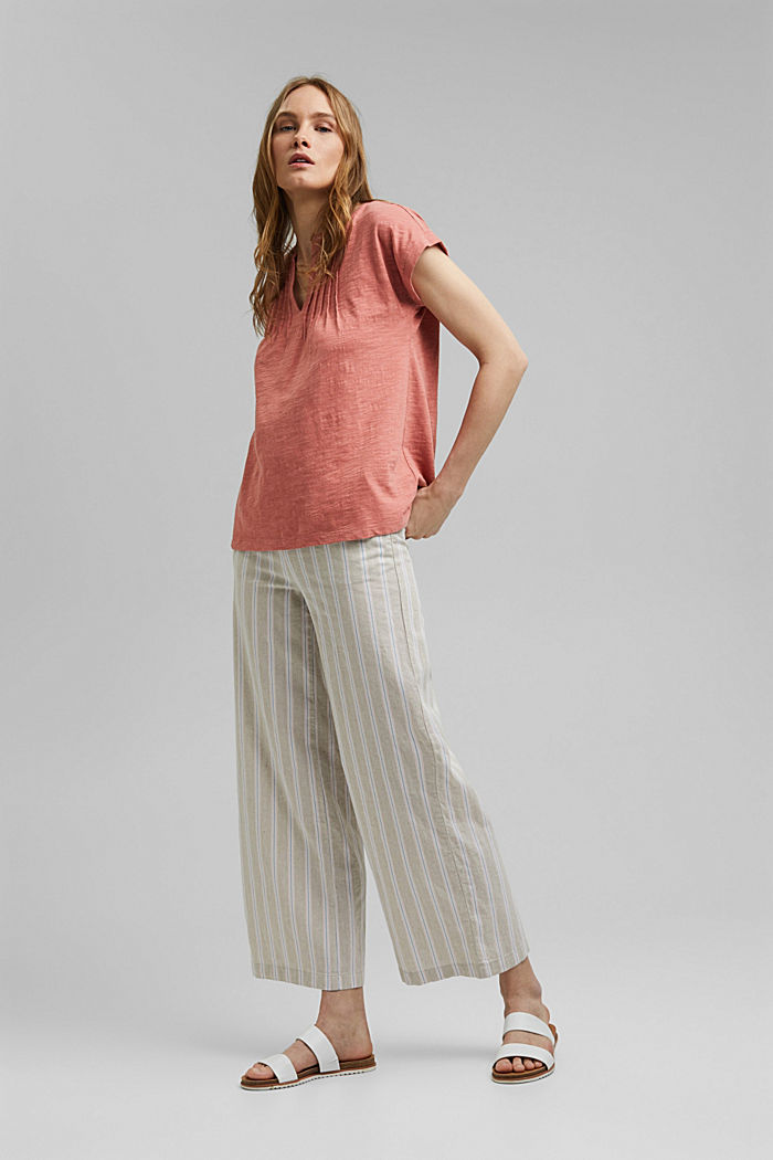 T-shirt with pintucks, 100% organic cotton, BLUSH, detail image number 7