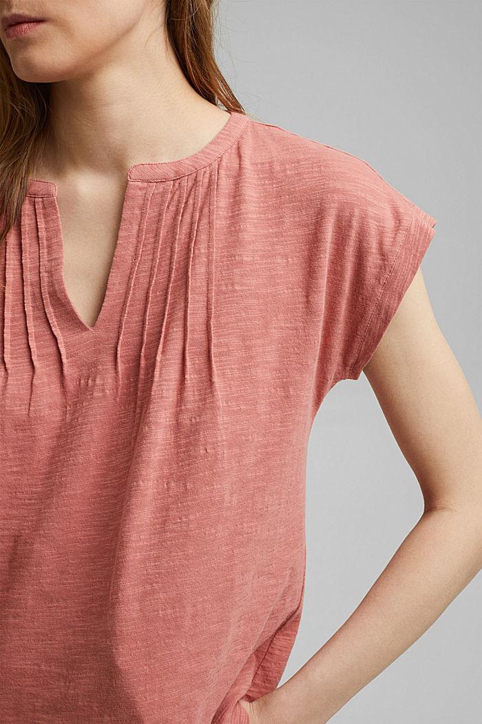 T-shirt with pintucks, 100% organic cotton, BLUSH, detail image number 2