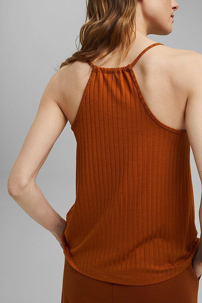 En matière recyclée: le top à bretelles spaghetti en jersey côtelé, CARAMEL, detail image number 2