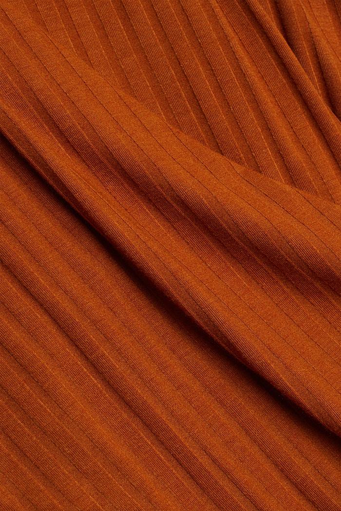 En matière recyclée: le top à bretelles spaghetti en jersey côtelé, CARAMEL, detail image number 4