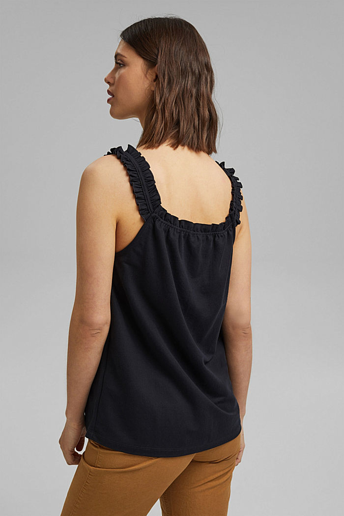 Frilled jersey top, LENZING™ ECOVERO™, BLACK, detail image number 3