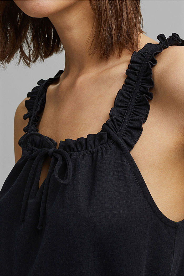 Frilled jersey top, LENZING™ ECOVERO™, BLACK, detail image number 2