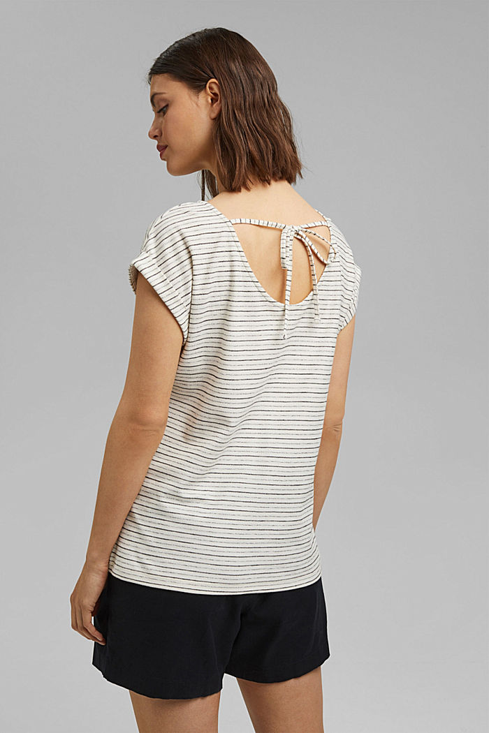 Striped top with a round back neckline, OFF WHITE, detail image number 3