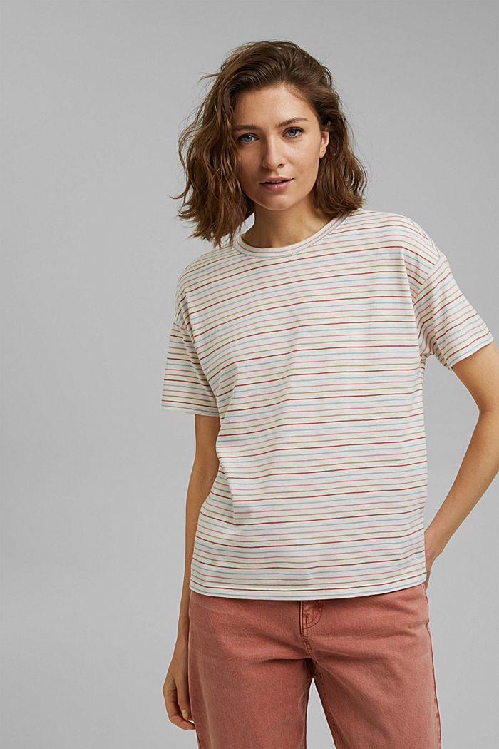 Streifen-Shirt aus Bio-Baumwolle/TENCEL™, NEW OFF WHITE, detail image number 0