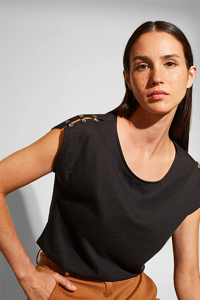T-shirt with button plackets, organic cotton, BLACK, detail image number 0