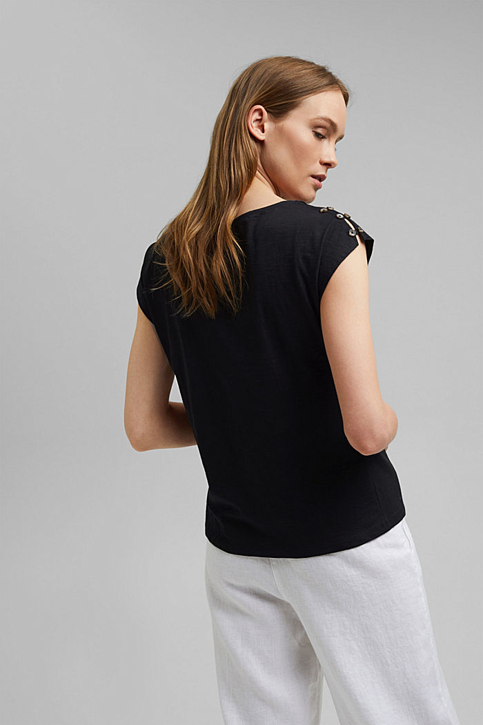 T-shirt with button plackets, organic cotton, BLACK, detail image number 3