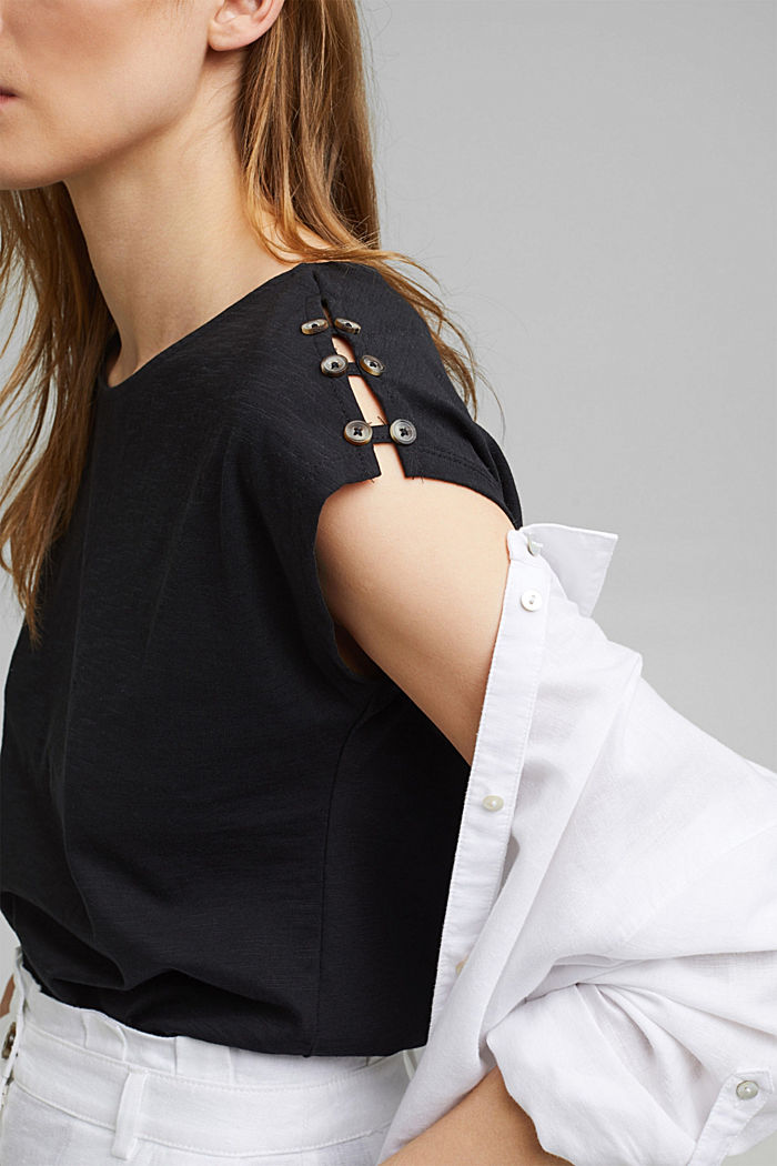 T-shirt with button plackets, organic cotton, BLACK, detail image number 2