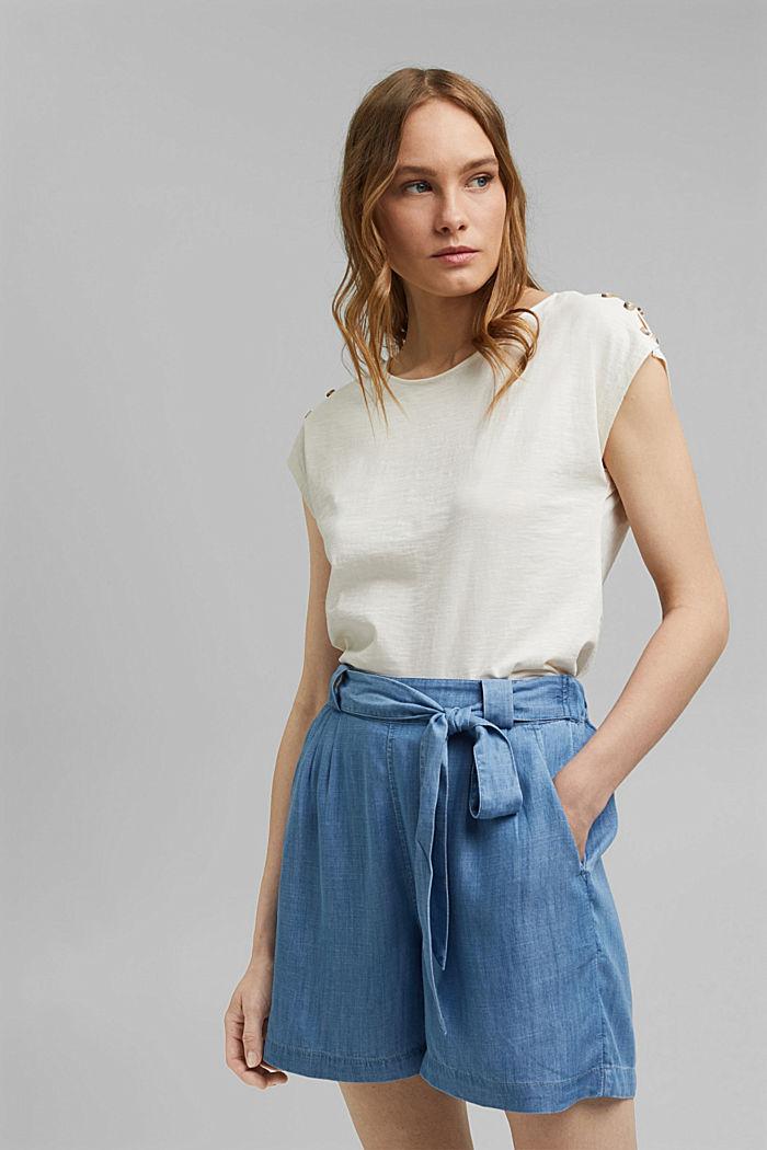 Tričko s knoflíkovými légami, bio bavlna, OFF WHITE, detail image number 0
