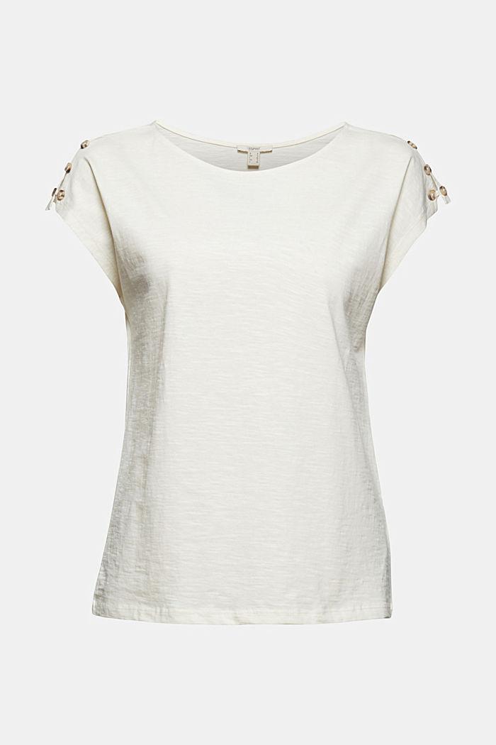 T-shirt med knappslåar, ekologisk bomull