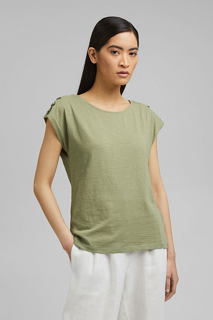 T-shirt with button plackets, organic cotton, LIGHT KHAKI, detail image number 0