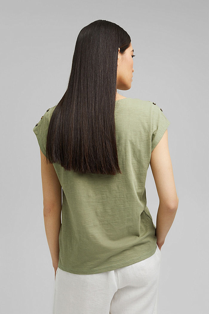 T-shirt with button plackets, organic cotton, LIGHT KHAKI, detail image number 3