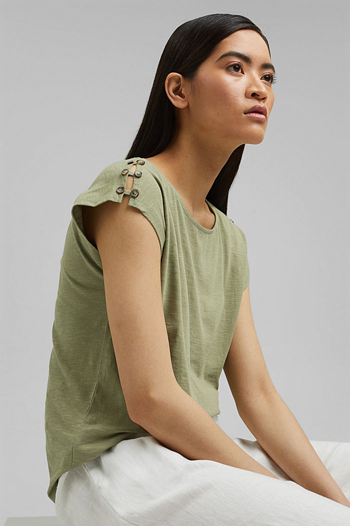 T-shirt with button plackets, organic cotton, LIGHT KHAKI, detail image number 5