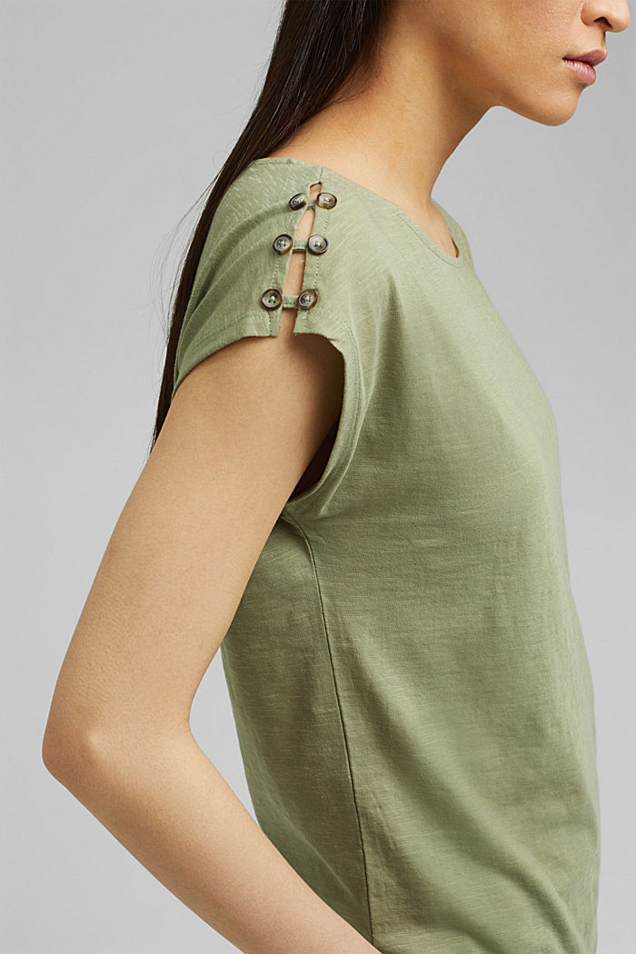 T-shirt with button plackets, organic cotton, LIGHT KHAKI, detail image number 2